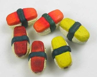 10 Tiny Sushi  Beads - CB516