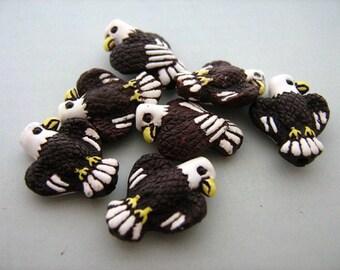 4 Tiny Brown Eagle Beads - CB88