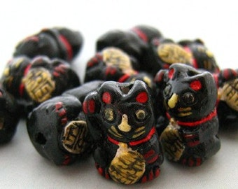 4 Tiny Black Good Luck Kitty Beads - CB469