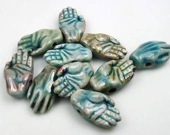 20 Tiny Raku Hand Beads - ceramic beads, peruvian beads, raku beads - CB564