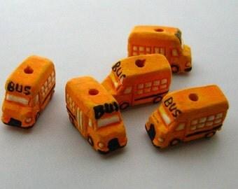 4 Tiny School Bus Beads