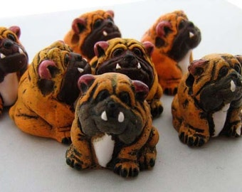 4 Large Bulldog Beads - Orange - LG14
