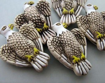 4 Large Tan Eagle Beads - LG65