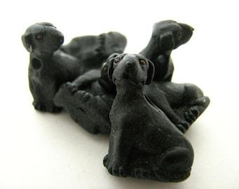 10 Large Black Labrador Beads