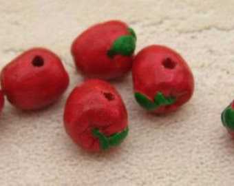 4 Tiny Red Apple Beads - CB180