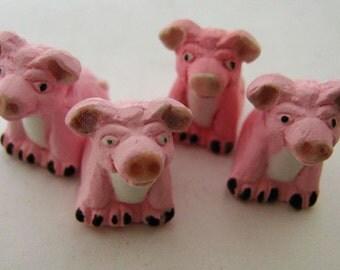 4 Large Pig Beads