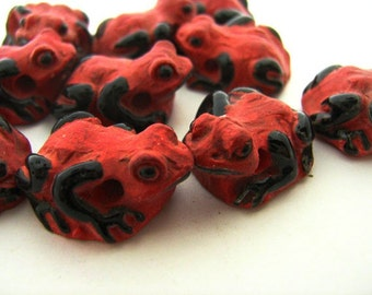 10 Large Red Frog Beads - Poison Dart frog, insect, reptile, ceramic,peruvian,garden, animal, wildlife -  LG103
