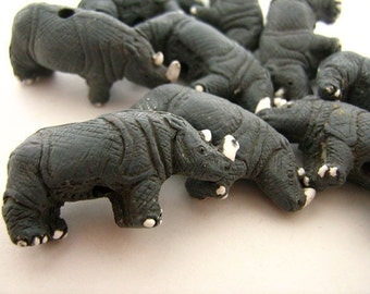 4 Large Rhino Beads - grey rhino - LG100