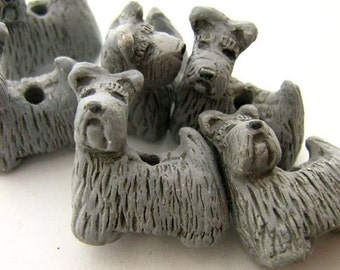 4 Large Grey Scotty Dog Beads