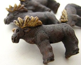 4 Large Moose Beads - Ceramic Beads - Peruvian Beads - Animal Beads  - LG127