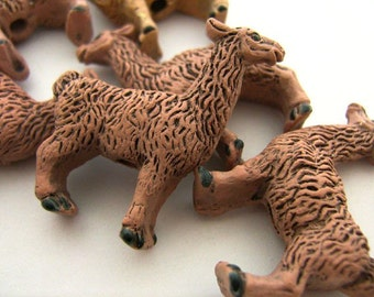 4 Large Brown Llama Beads