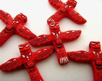 4 Large Red Totem Pole Beads
