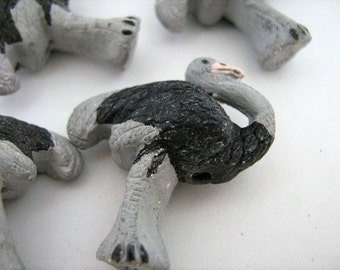 4 Large Ostrich Beads - LG199 - bird, zoo, ceramic, peruvian, large hole