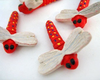 4 Large Ceramic Red Dragonfly Beads - LG183
