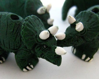 10 Large Triceratops Beads - LG214