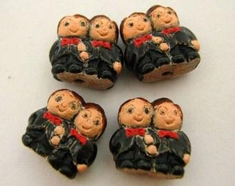 4 Tiny Groom and Groom Couple Beads - CB796