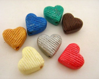 4 Tiny Mixed Heart Beads - ceramic bead, peruvian, heart beads - CB811