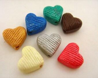 20 Tiny Mixed Heart Beads