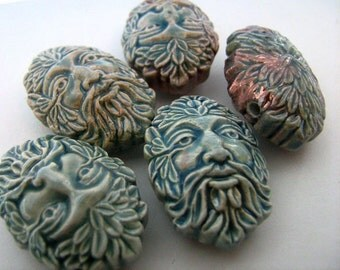 4 Large Raku Green Man Beads - ceramic, peruvian, hemp, large hole - RAK264
