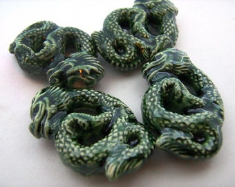 10 Large Ceramic Beads Green Chinese Dragon Pendants - LG435