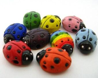 10 Large Ladybug Beads