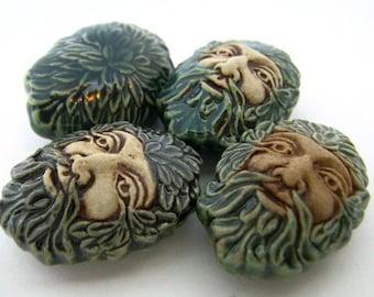 10 Ceramic Beads - Large Green Man - LG429