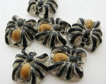 4 Tiny Spider Beads