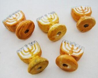 4 Tiny Ceramic Beads - Menorah - CB824