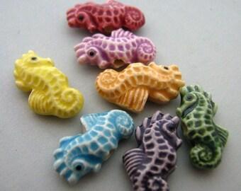 4 Tiny Multi Seahorse Beads