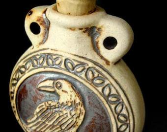 High Fired Ceramic Bottle Bead - Raven - HFBOT52