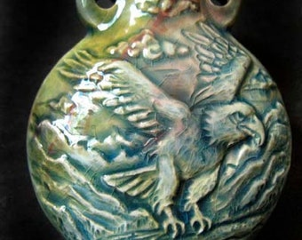 Raku Ceramic Bottle Bead - Eagle