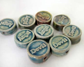 20 Tiny Affirmation Beads - Angel Devil - CB833