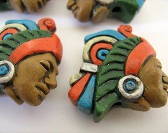 4 Large Aztec Warrior Beads - LG332