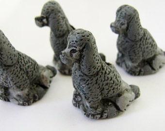 4 Large Poodle Beads - grey - sitting