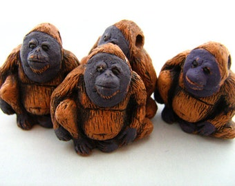 10 Large Orangutan Beads - LG362
