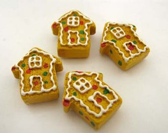 4 Large Gingerbread House Cookie Beads