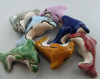 4 Large Dolphin Beads - mixed colors