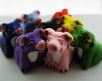 10 Large Pig Beads - mixed