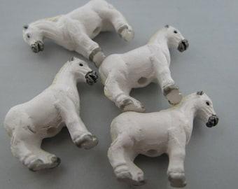 10 Ceramic Beads - Large White Horse - LG389