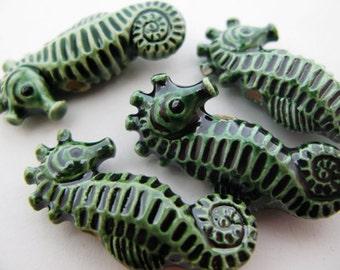 10 Large Ceramic Green Seahorse Beads - LG467