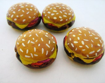 4 Large Hamburger Beads - LG572