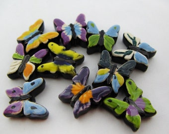 10 Medium Mixed Butterfly Beads