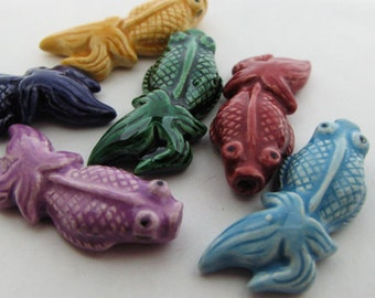 10 Large Koi Fish Beads - mixed - glazed