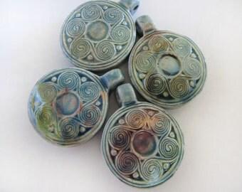 4 Raku Swiril Flower Pendants - beads - RAK158