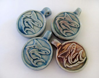4 Raku Shark Pendants - beads