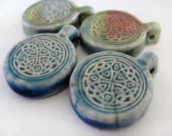 10 Raku Celtic Design Pendants - beads - RAK161