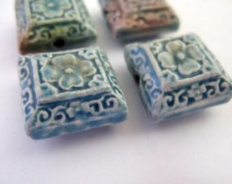 4 Cinnabar Style Raku Floral Square Beads  - RAK247