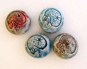 10 Raku Moon Beads