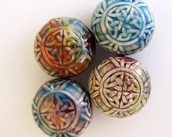 4 Raku Celtic Knot Beads - RK280