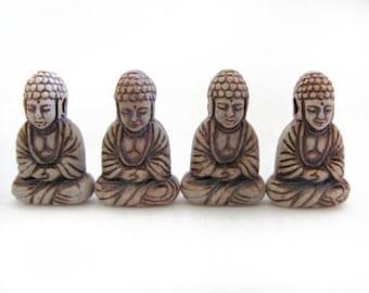 4 Highfired Buddha Pendants/Beads - HIFI 248